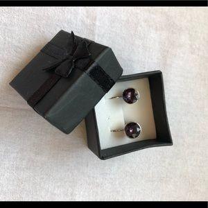 Purple Swarovski elements crystals earrings
